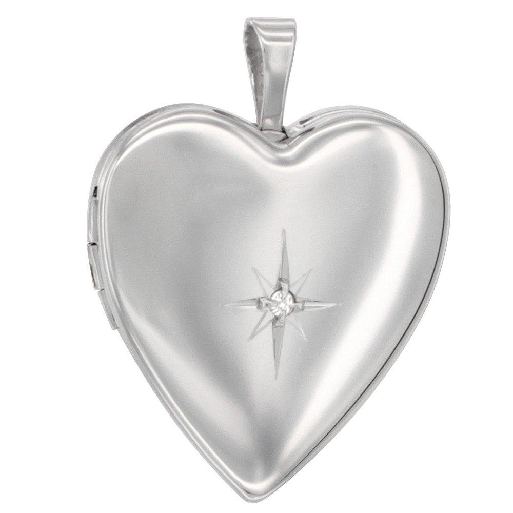 Sterling Silver Diamond Heart Locket Necklace, 16 inch Boston Chain