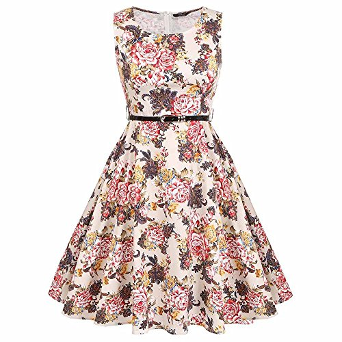 YoungG-3D Women Dress Retro 1950S 60S Rockabilly Floral Swing Summer Dresses Elegant Bow-Knot Tunic Robe Pattern 2 XXL (Sims Jeans 2)