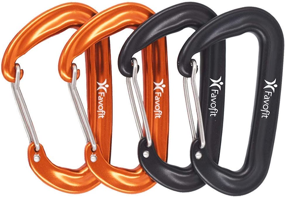 Favofit Carabiner Clips, 4 Pack, 12KN (2697 lbs) Heavy Duty Caribeaners for Camping, Hiking, Outdoor and Gym etc, Small Carabiners for Dog Leash and Harness, Black and Orange : Sports & Outdoors