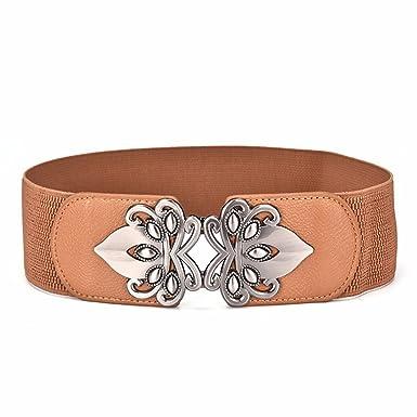 Taille élastique noeud papillon Femmes robe joint decoration large ceinture  élastique, marron, 65- 3ea68575da7