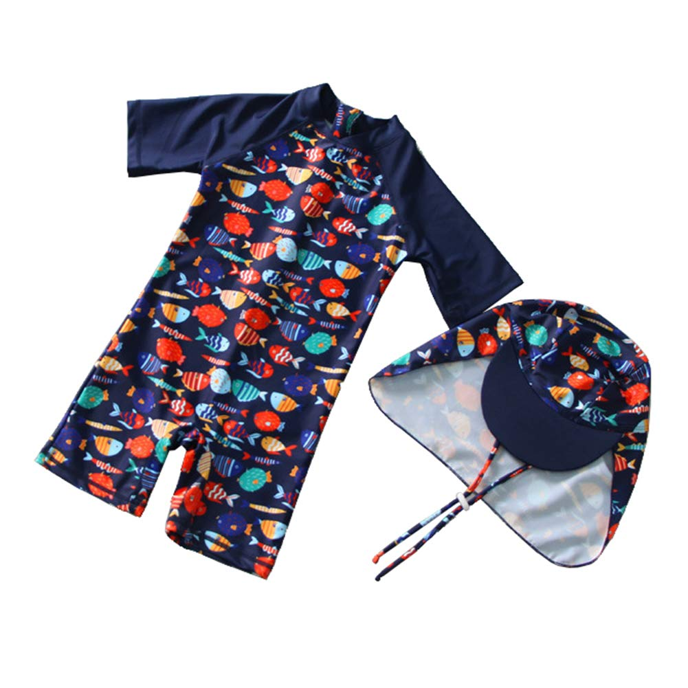 UV Sun Protection Swimwear with Hat,2-8Y Digirlsor Kids Toddler Girls Boys One Piece Rashguard Swimsuit Long Sleeve UPF 50