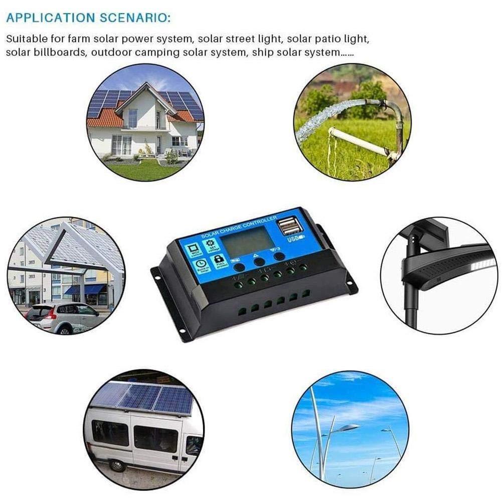 AIMERKUP 12V 24V10A 20A 30A 40A 50A 60A Controlador de carga solar Interruptor autom/ático LCD Panel inteligente Regulador de bater/ía Controlador carga Protecci/ón contra sobrecarga fashionable