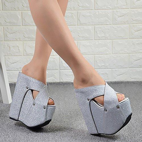 zapatillas y de XiaoGao aumentado de espesor de tacon Plateado alto inferior 19 cm pendiente Sandalias 4O4RBqxnHw
