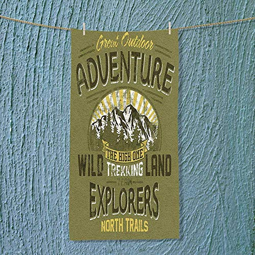 SOCOMIMI Super Absorbent Towel Great Outdoor Adventure A Poster About Climbing Vintage Pattern Olive Green and Yellow Ideal for Everyday use by SOCOMIMI