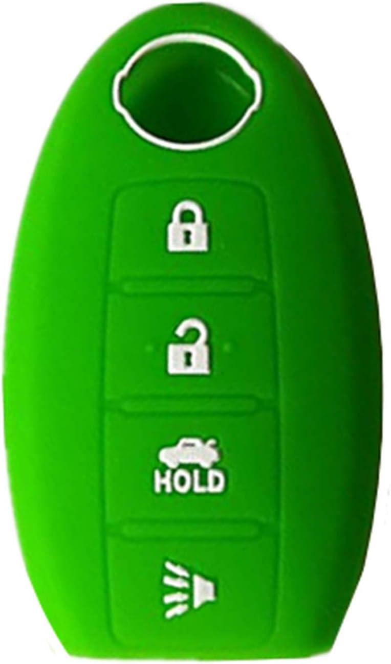 KAWIHEN Silicone 4 buttons Keyless Entry Smart Remote Key Fob Cover Protector For Nissan 350Z 370Z Altima Armada GT-R Leaf Pathfinder Rogue Sentra Maxima Murano Versa CWTWB1U840 285E3-3SG0D green