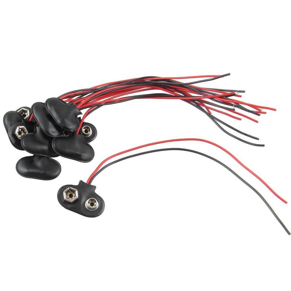 SODIAL(R) 10 x Conector Clip de Bateria 9V con Cable Carcasa de Cuero Falso Tipo T 006110