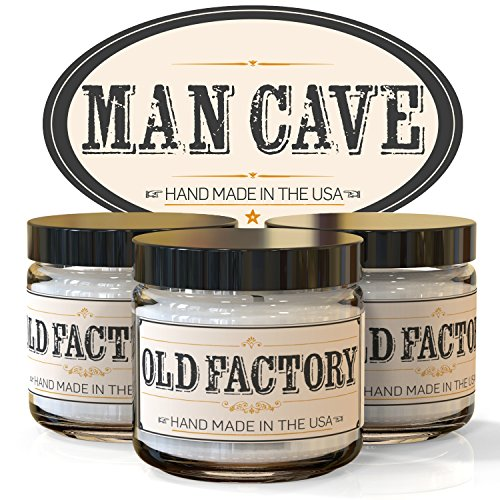 Scented Candles – Man Cave – Set of 3: Straight Razor, Leather, and Mahogany – 3 x 4-Ounce Soy Candles – Each Votive Candle is Handmade in the USA wit…