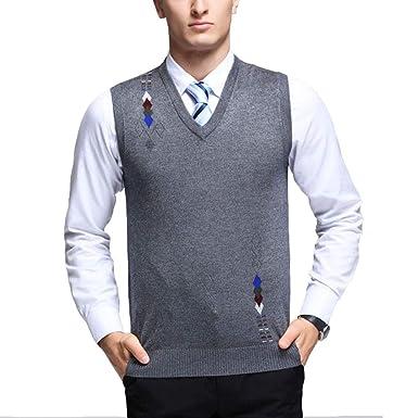 96a184c5f0fbd Mixsense Mens  Winter Warm Wool Argyle V-Neck Sleeveless Knitwear Sweater  Vest (S