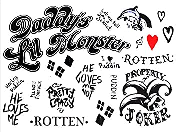 aa396c47e01f87 Image Unavailable. Image not available for. Colour  Kizrr Harley Quinn  Suicide Squad Temporary Tattoo!