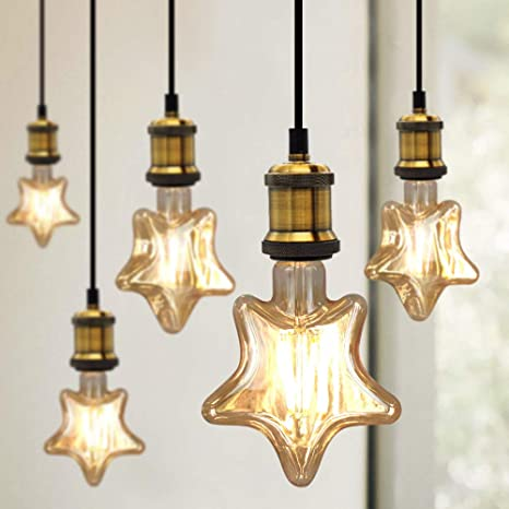TIANFAN Edison Classic - Bombilla LED (forma de estrella, 4 W, estilo vintage
