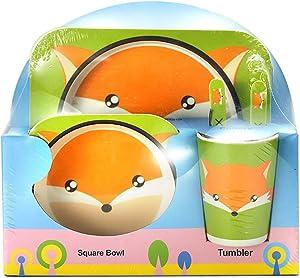 Children's 5 Pcs Bamboo Dinner Set Shopwithgreen Kids Board Food Plate Bowl Cup Spoon Fork Set Dishware Cartoon Tableware, BPA Free and Dishwasher Safe Kids Healthy Mealtime (Fox)