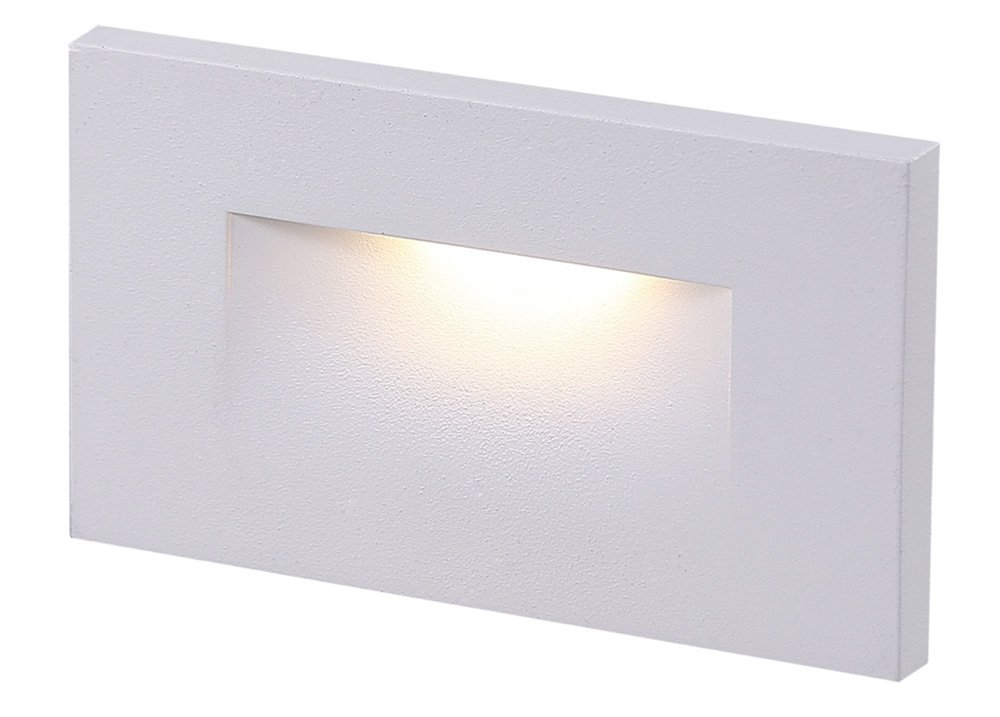 Cloudy Bay 120V LED Indoor Outdoor Step Light,3000K Warm White 3W 100lm,Stair Light,White Finish