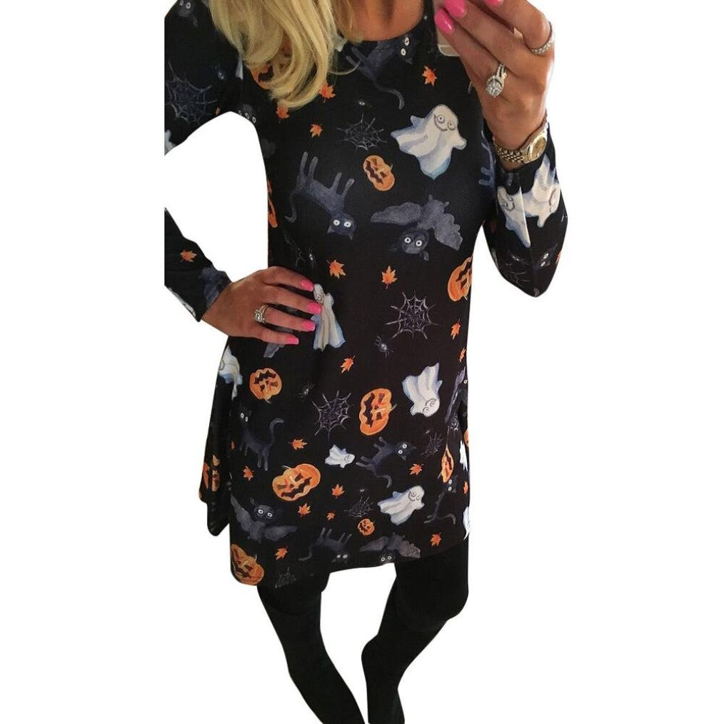 Kimloog S~XL Casual Women Halloween Pumpkin Skull Print Long Sleeve Party Swing Mini Dress (L)