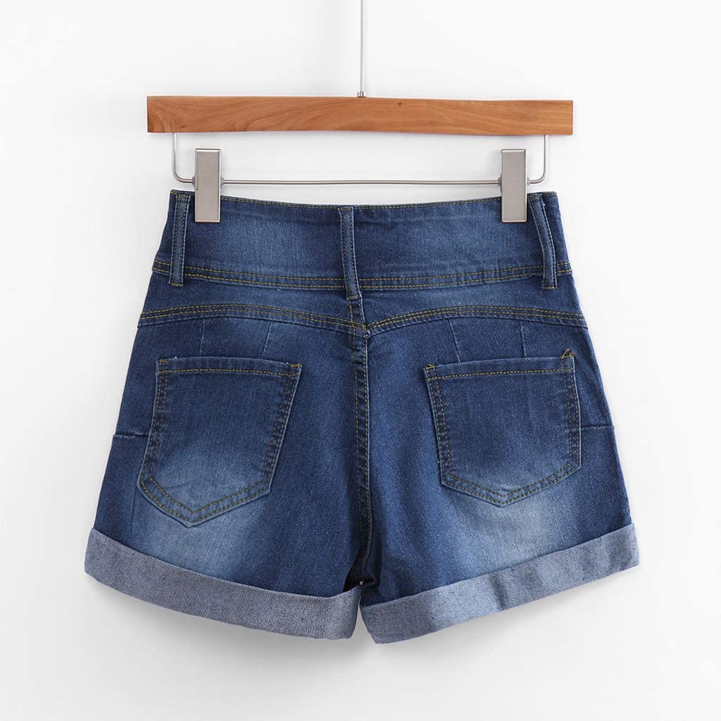 JSPOYOU Womens Shorts Hole Denim Shorts Low Waisted Washed Ripped Mini Jeans Pants