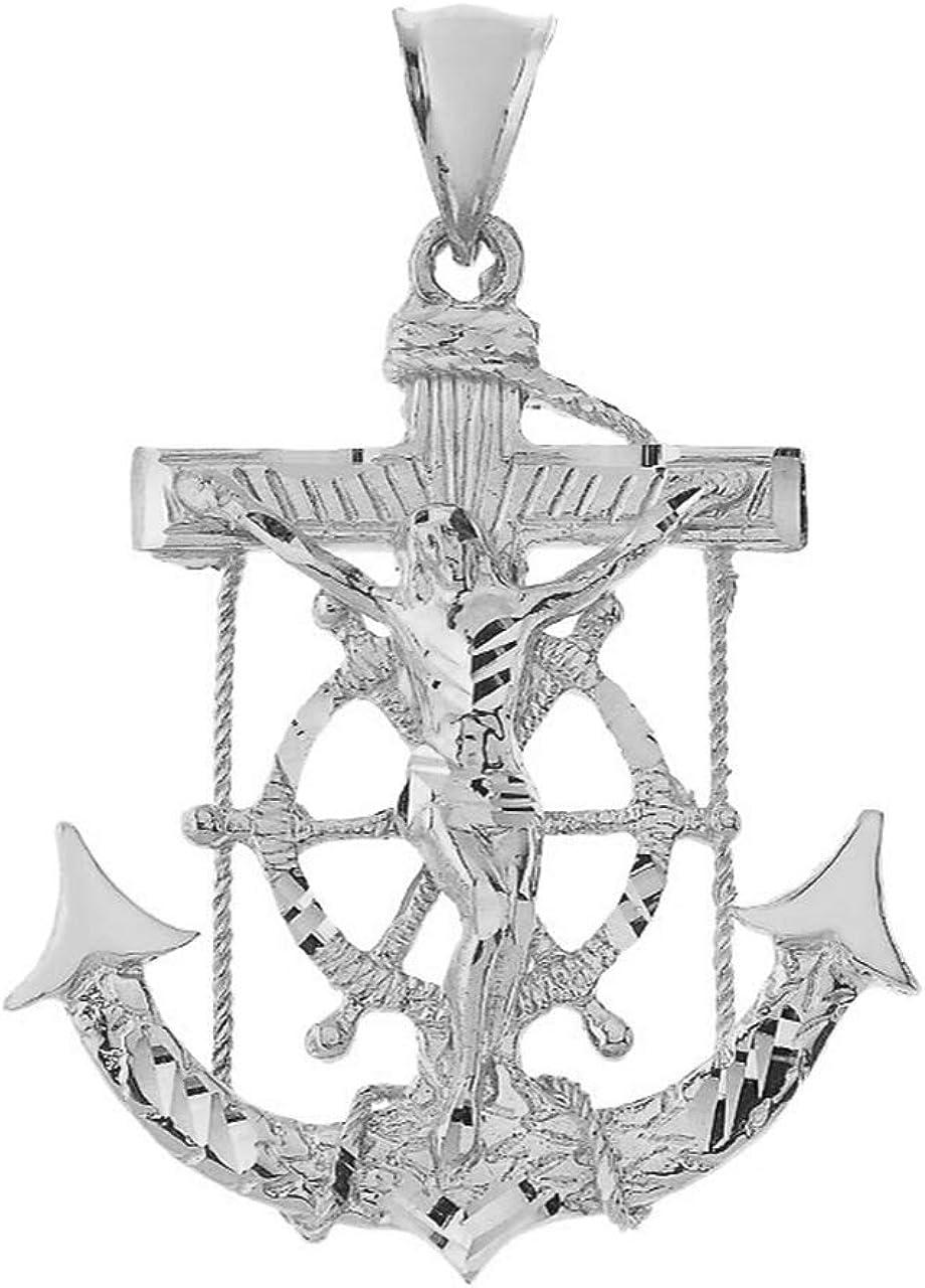 925 Sterling Silver Nautical Jesus Anchor Crucifix Cross Pendant 2 Sizes
