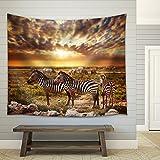 wall26 - Zebras Herd on Savanna at Sunset, Africa. Safari in Serengeti, Tanzania - Fabric Wall Tapestry Home Decor - 68x80 inches