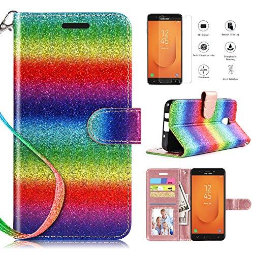 Samsung Galaxy J7 Refine Case,Samsung Galaxy J7 2018 Case,Samsung Galaxy J7V 2018 J7 V 2nd Gen/Galaxy J7 Star Wallet Case w Screen Protector Kickstand Card Slots Wrist Strap 2 in 1 Cover,Rainbow