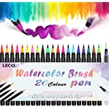 Leco Refillable Watercolour Real Nylon Tips Brush Pen Set of 20 Color+ for Calligraphy, Bullet Journal, Colouring, Manga, Comic, Travel Use