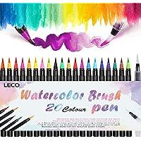 Watercolour Brush Pen, Leco Brush Pens Set 20 Color+ Refillable Water Brush, Real Nylon Brush Tips, for Calligraphy, Bullet Journal, Colouring, Manga, Comic, Travel Use