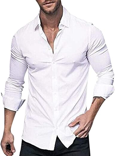 CAOQAO Camisa Hombre Moda de Manga Larga de Color sólido Solapa de Negocios o Camisa Informal Tops Blusa: Amazon.es: Ropa y accesorios