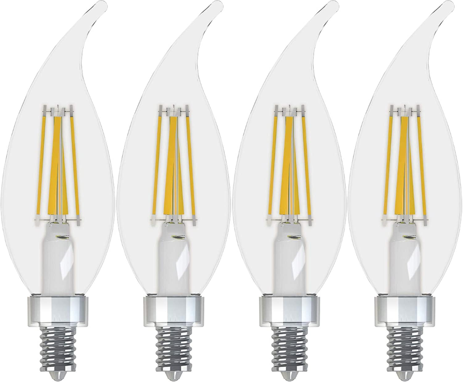 GE Lighting 43245 Refresh HD LED (60-Watt Replacement), 500-Lumen Candle Bulb, Candelabra Base, Daylight Clear, 4-Pack, Title 20 Compliant