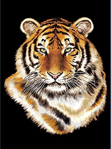 Manual Majestic Tiger Wildlife Lined Tapestry Wall Hanging with Wrought Iron Rod HWMAJT 26×36