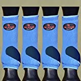 HILASON LARGE HORSE FRONT REAR HIND LEG SPORT BOOT ULTIMATE PROTECTION BLUE NAVY