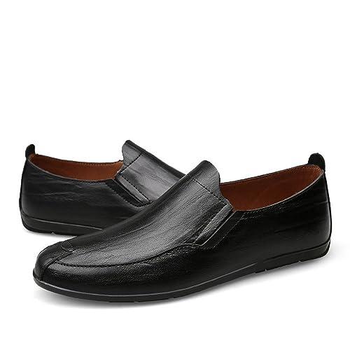 Mocasines de tacón Plano de Hombre de Cuero Genuino Vamp Slip en Estilo de conducción Loafer: Amazon.es: Zapatos y complementos