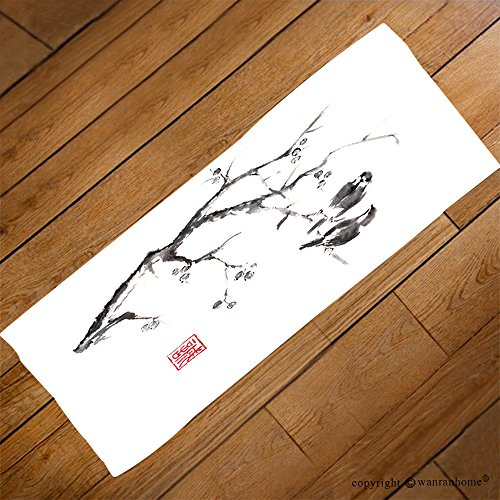 Tow Hook Cut Outs (VROSELV Custom Towel Soft and Comfortable Beach Towel-tow birds on a tree japanese style original sumi e ink painting hieroglyph f Design Hand Towel Bath Towels For Home Outdoor Travel Use 23.6