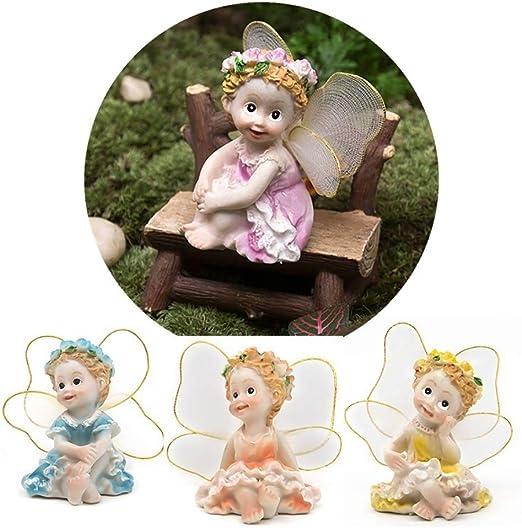 FEIDA Adornos en Miniatura para jardín, 4 Piezas/Set de Hadas, Decoraciones en Miniatura de Resina: Amazon.es: Jardín