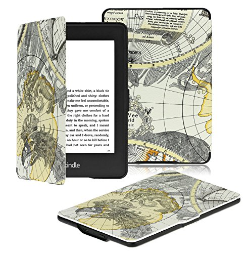 OMOTON Kindle Paperwhite Case Cover The Thinnest and Lightest PU Leather Smart Cover for All-New Kindle Paperwhite (Fits All versions:2013,2014,2015 and 2016 All-new 300 PPI Versions),Black Gray Map
