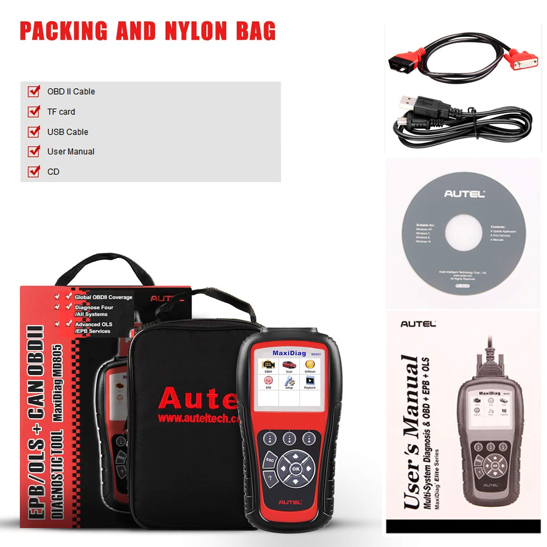 Autel MaxiDiag MD805 OBD2 Scanner Full System Diagnostic Tool with Engine, Transmission, ABS, Airbag, EPB, Oil Reset -Advanced Version of MD802 by Autel (Image #7)