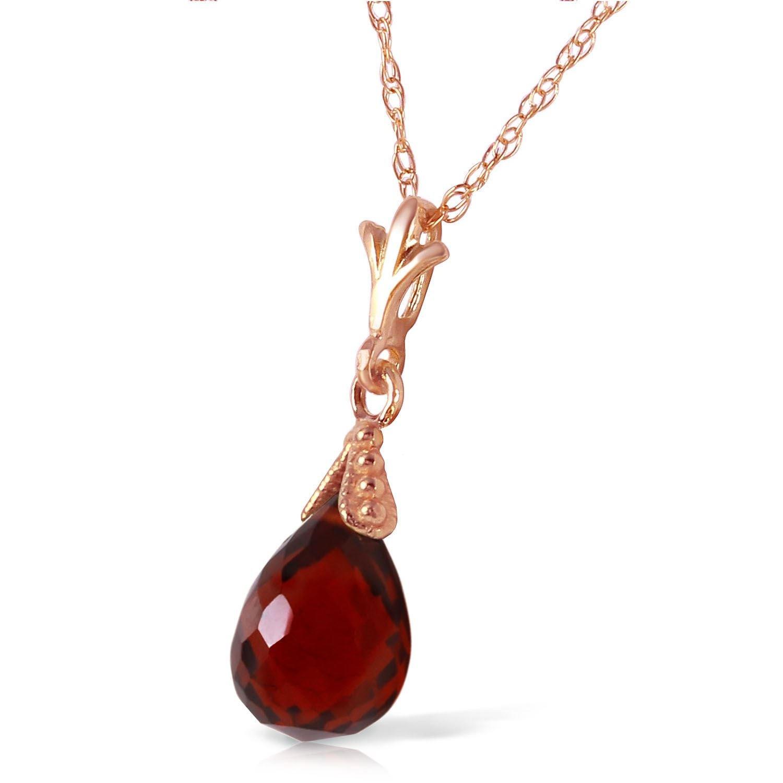 ALARRI 2.5 Carat 14K Solid Rose Gold Necklace Briolette Garnet with 24 Inch Chain Length