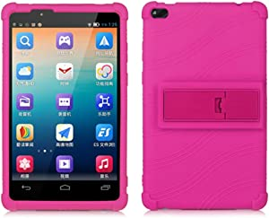 HminSen Lenovo TAB 4 8 Case,(NOT for Lenovo Tab E8 TB-8304F or Plus Model TB-8704) Ultra Slim Soft Silicone Back Stand Cover for Lenovo TAB 4 8 TB-8504F TB-8504N Tablet 2017 Release, (Rose)