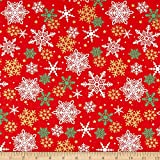 Santee Print Works Christmas Snowflakes Metallic Red/Gold Fabric by The Yard