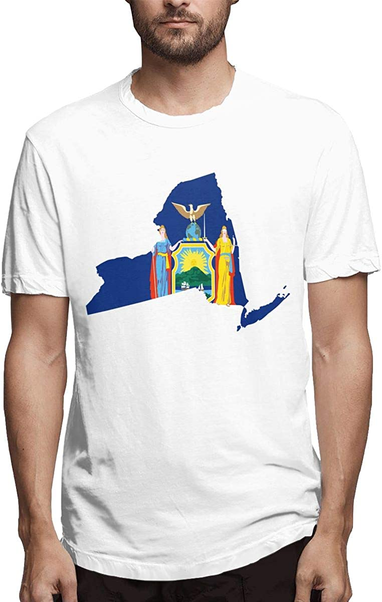 New York State Flag Map Shape Form Mens T Shirt Fashion Short Tee At Amazon Men S Clothing Store