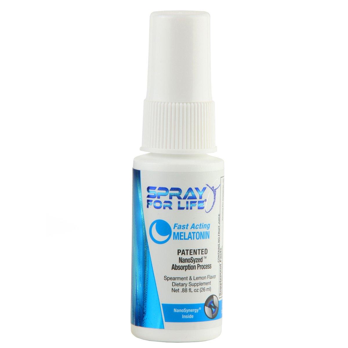 Spray for Life Melatonin Spray with Nanotechnology for Improved Sleep Guaranteed 1oz - Spearmint & Lemon - 30 Day Supply