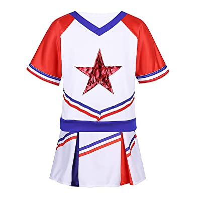 zdhoor Kids Girls Short Sleeves Cheerleading Halloween Outfits Stars Applique Tops T-Shirt with Skirt Set: Clothing