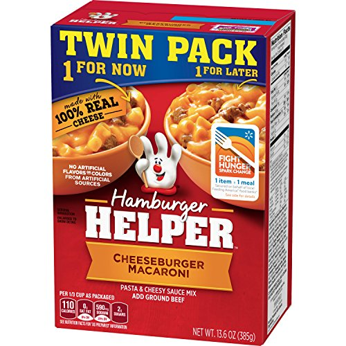 Betty Crocker Dry Meals Hamburger Helper Pasta and Cheesy Sauce Mix Cheeseburger Macaroni, 13.6 ()
