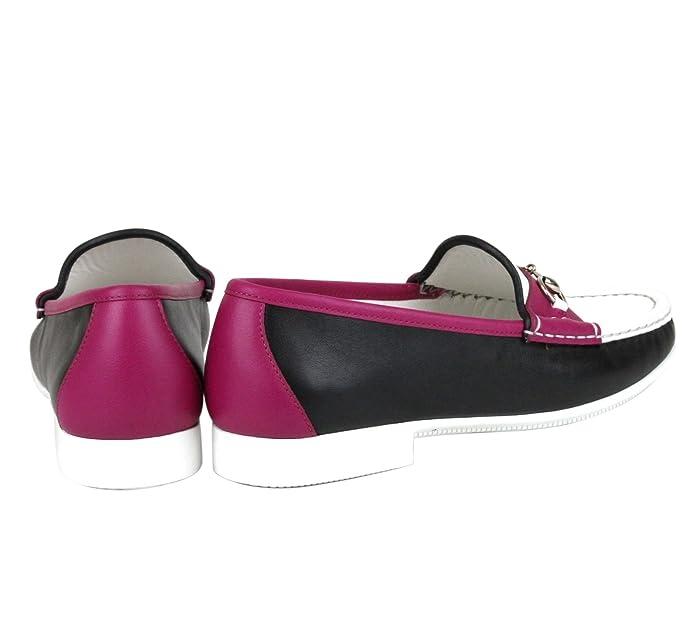 Gucci Rafer Cuero Mocasines Horsebit Mocasines 338358 (8.5 U.S. / 38.5, Negro/Blanco/Magenta): Amazon.es: Zapatos y complementos