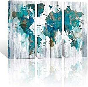 Large Canvas Wall Art Abstract World Map Art for Living Room Modern Framed Wall Decoration Green Watercolor World Map Pictures Artwork Ready to Hang for Home Bedroom Office Size 16x32 inch Each Panel