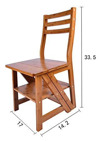 Innovative Creative Transforming Folding Fold Up Library Steps Step Ladder  Chair Kitchen Office Use Natural Bamboo