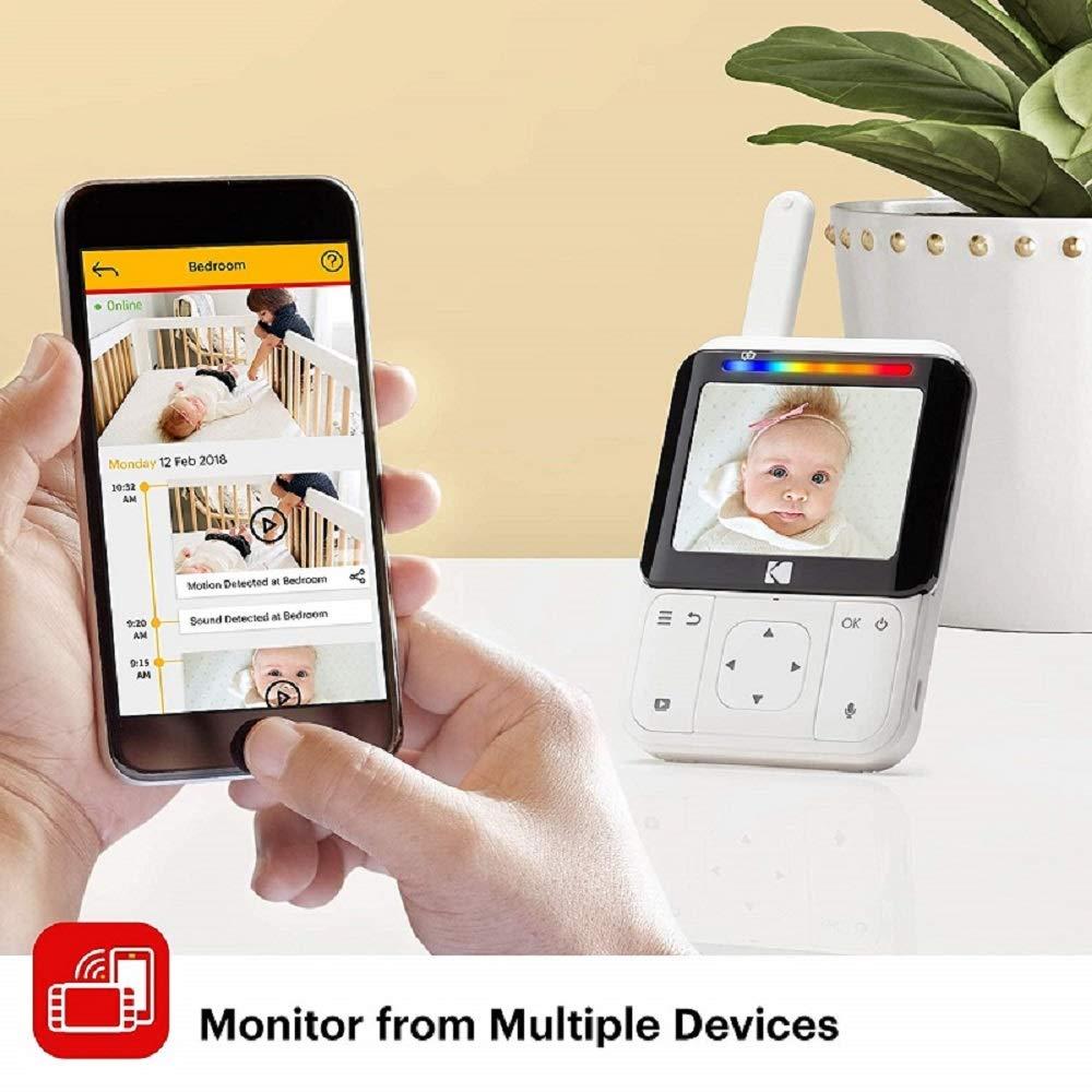 Remote Zoom Long Range and WiFi Hi-res Camera Night-Vision KODAK Cherish C220IR Video Baby Monitor /— 2.8 HD Screen /& Mobile App Two-Way Audio
