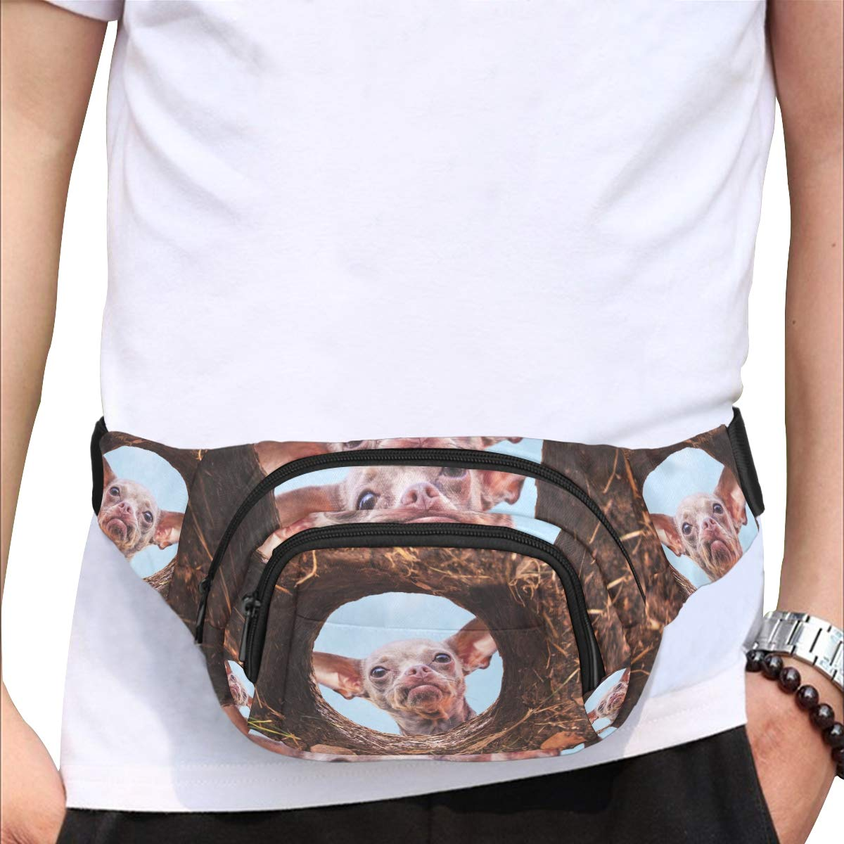Cute Chihuahua Looking Into A Hole Fenny Packs Waist Bags Adjustable Belt Waterproof Nylon Travel Running Sport Vacation Party For Men Women Boys Girls Kids