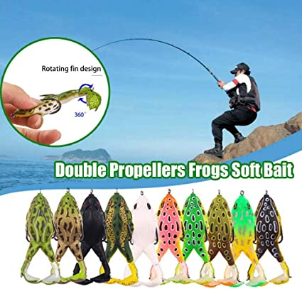 Double Propellers Frogs Soft Bait Soft Silicone Fishing Lures BEST US .W