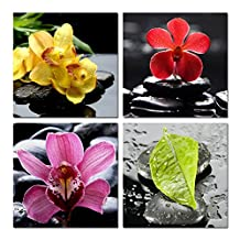 Pretty Lee 4 Pcs Flower Stone Candle Scenery Picture Printed Painting Modern Canvas Wall Art for Home Decor Tableau Peinture Sur Toile
