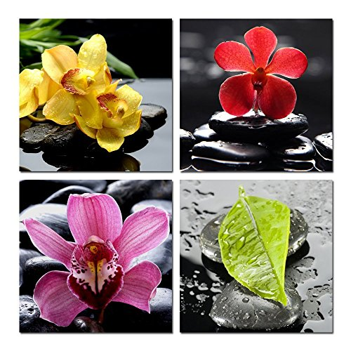 Sea Charm  Zen Canvas Wall Art Orchid Flower Green Leaf The Picture On  Canvas Prints Art For SPA Bedroom Wall Decor,Peaceful Painting Print Framed  Ready To ...