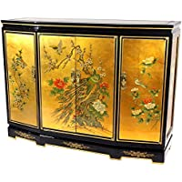 Oriental Furniture Gold Leaf Slant Front Cabinet