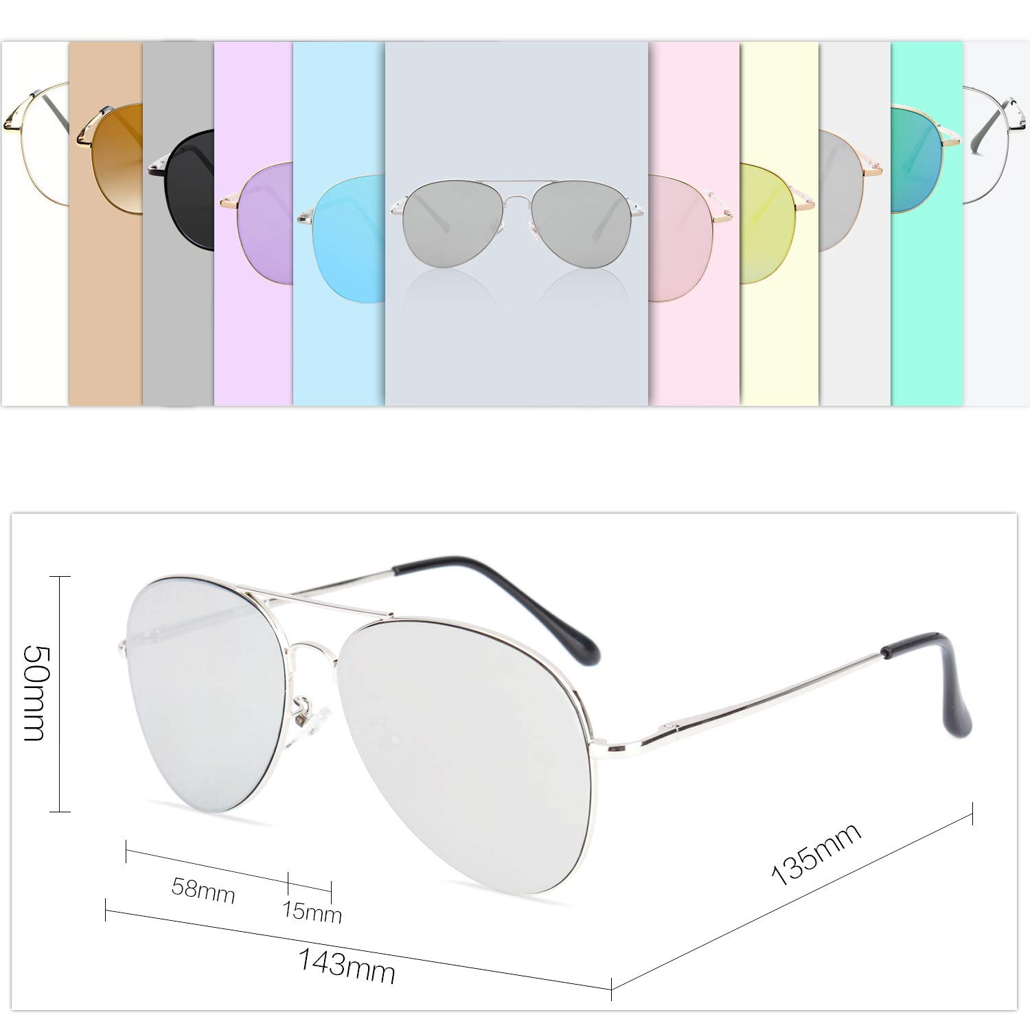 7ef336dea6 SOJOS Classic Aviator Mirrored Flat Lens Sunglasses Metal Frame with ...