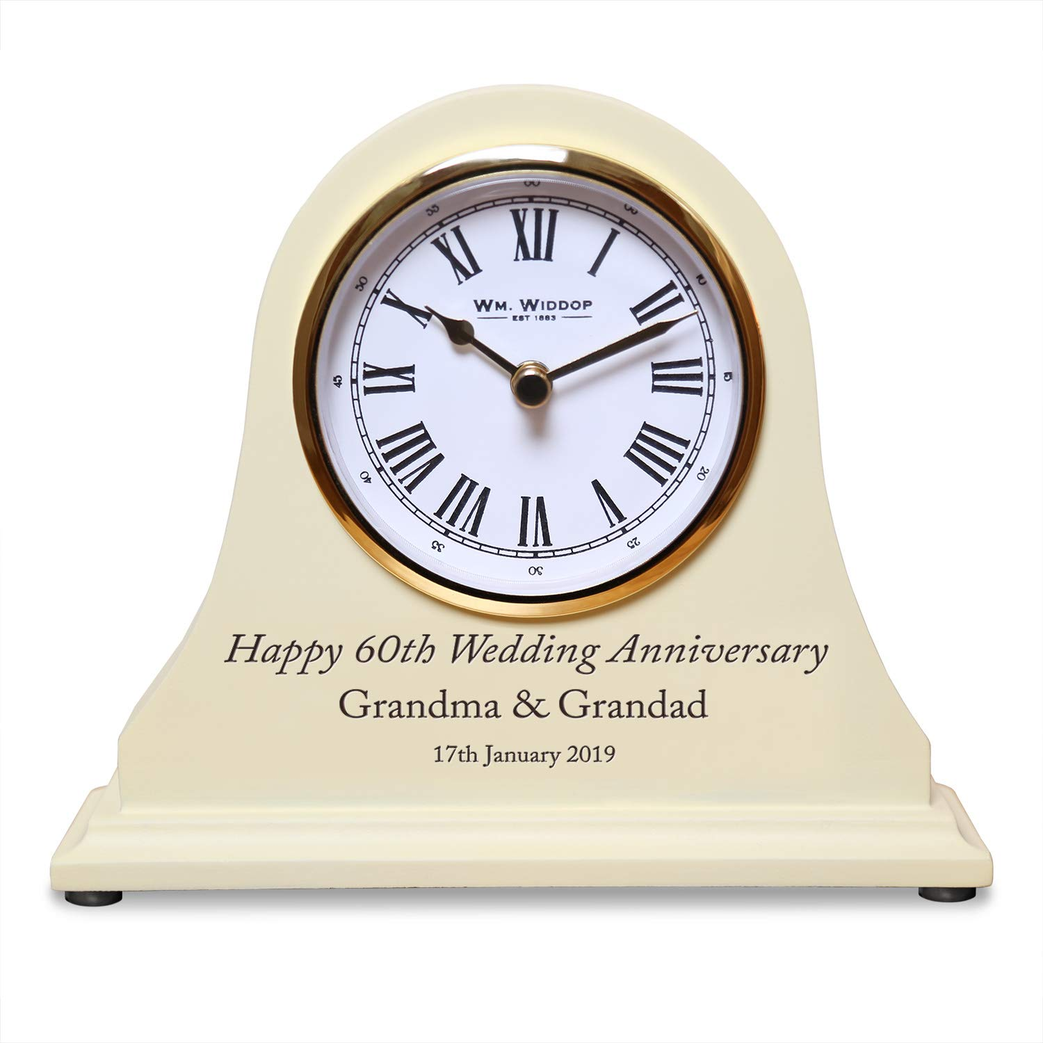 De Walden 60th Diamond Wedding Engraved Wooden Clock 60 Years Gifts The Great Gifts Company